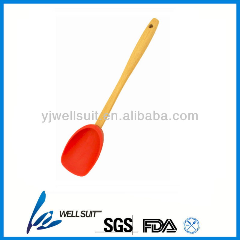 Silicone wooden handle spoon