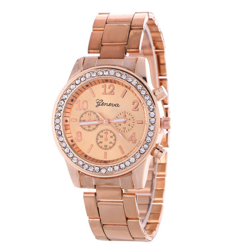 Geneva Brand Three-Eye Diamond Case Women's Quartz Stainless Steel Band Casual Wrist Watch Women Ladies <strong>001</strong>