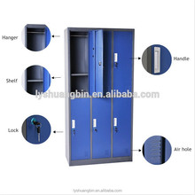 Six compartment clothing storage metal Z locker ,full welding assembled closet cabinet design
