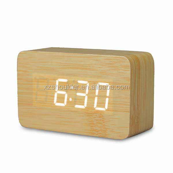 Natural Modern Digital Desk LED Wood Wooden USB/AAA Alarm Clock