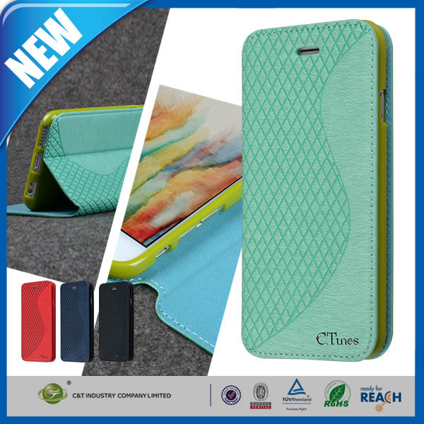 C&T Many colors sublimation soft gel tpu cases for apple iphone6 leather cover