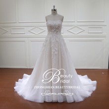 High quality saudi arabia boob tube top design a line wedding dress 2017