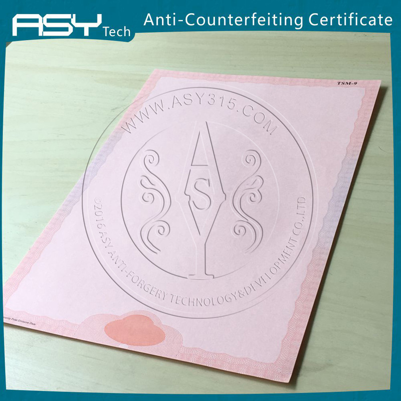 Professional certificate UV watermark printing with anti-counterfeit feature