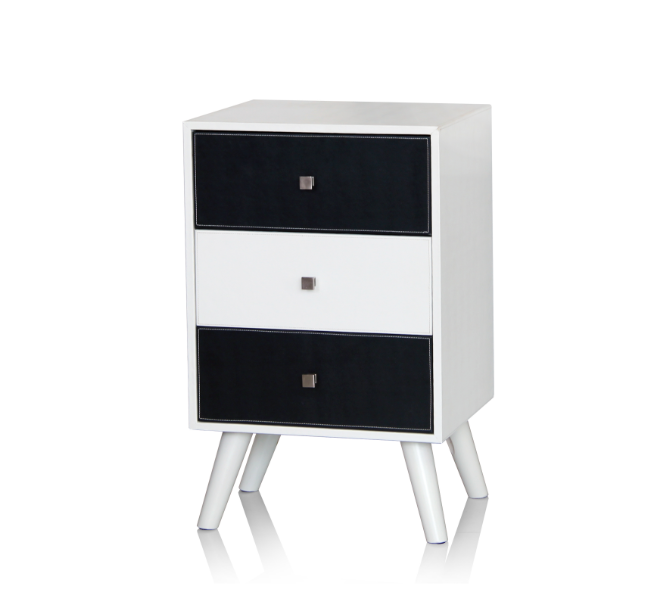 Elegant Faux Leather Chest Nightstand Side Table with 3 Drawers and Four Wooden Legs Cabinet