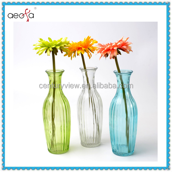 Machine made colored cheap glass flower vases wholesale
