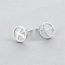 2017 newest design hot selling airplane shape pure silver Studs earrings