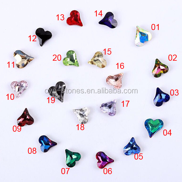 Factory direct sales excellent quality 8x9mm heart shaped point back glass stones