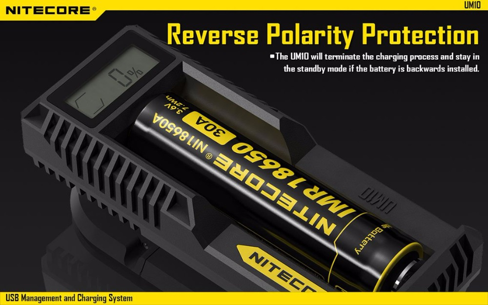 Original Nitecore UM10 Charger USB powered Li-ion battery charger UM10 with LCD Display