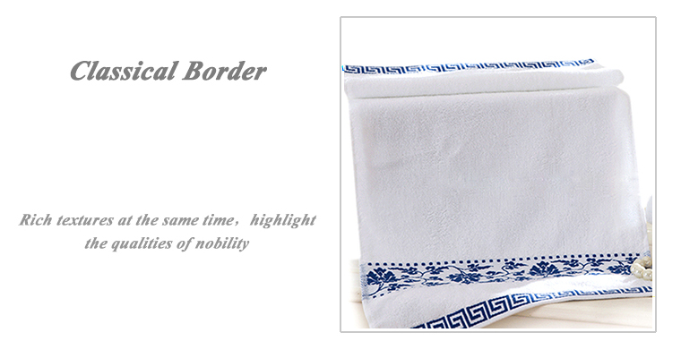 Customized High Quality Solid Color H otel Face Towel with Embroidery border