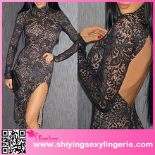 open hot sexi images for girls High Neck Floral Lace Secret Midi Dress dress for women pakistani