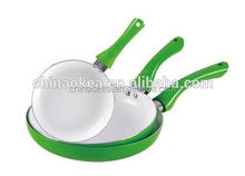 20 & 24 & 28cm fry pan set green cokware ceramic painted heat resistant handle for cookware