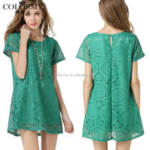 Wholesale cheap casual women clothes green mini short sleeve ladies lace dresses