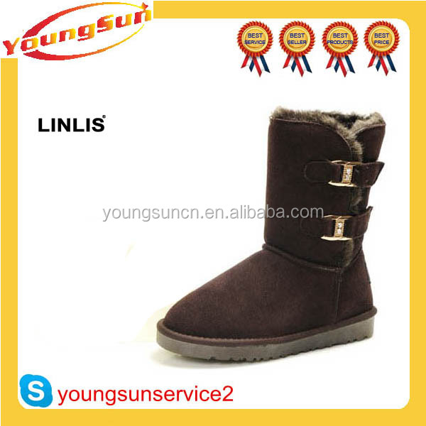 Newest warm Australian sheepskin brand name winter snow boots for woman