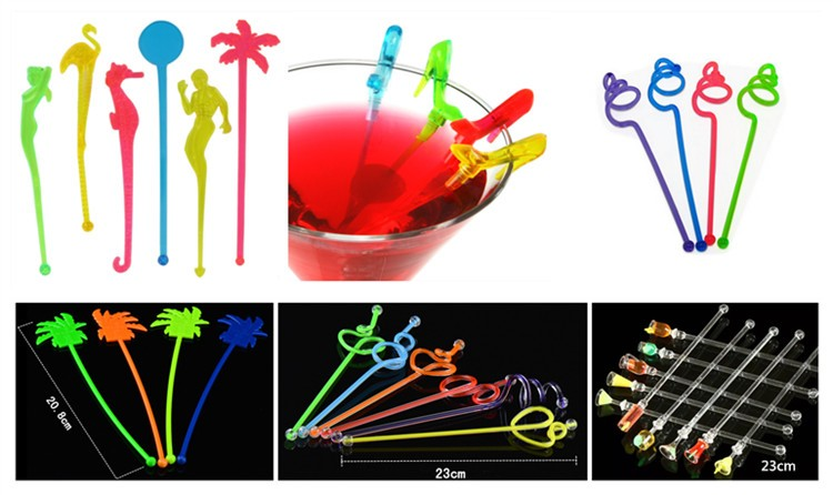 Flexible skewers cocktail stir stick plastic ice cream fruit sticks