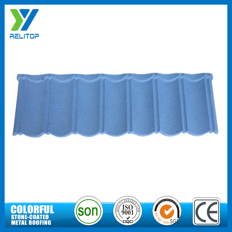 Light blue stone coated modern curved roof tile