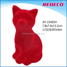 Resin flocked cat statues for home decoration