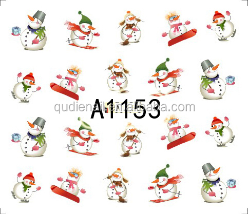 BIN Christmas Snowflake Tree Deer Nail Art Sticker Water Transfer Nail Sticker 3D Nail Decal
