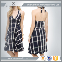 Australia design plaid halter neck girls sexy party dresses