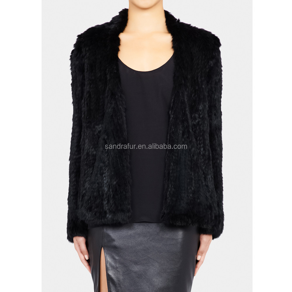 SJ020-01 Super Quality 1*1 Knitting Girl Fur Overcoats Australia/Knit Fur Clothing Women Coat