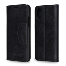 C&T Genuine Leather Wallet Flip Book Design Foldable Stand Folio with Credit Card Holder Cover Case for iphone X
