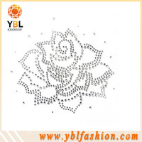Flower rhinestone iron on label transfers clothing