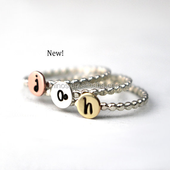 Custom Initial Ring, Bead Ring 316l stainless steel jewelry 2017