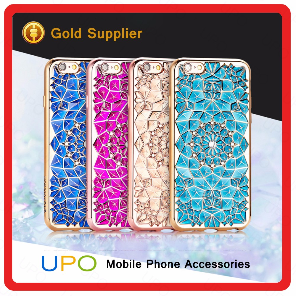 [UPO] Luxury Sunflowers Diamond Rhinestone Electroplate Mobile Phone soft gel TPU Case for iPhone 5s 6s plus