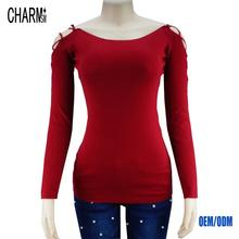 Strapless pullover sweater women's sexy young fashional sexy ladies western style fashion red sweater