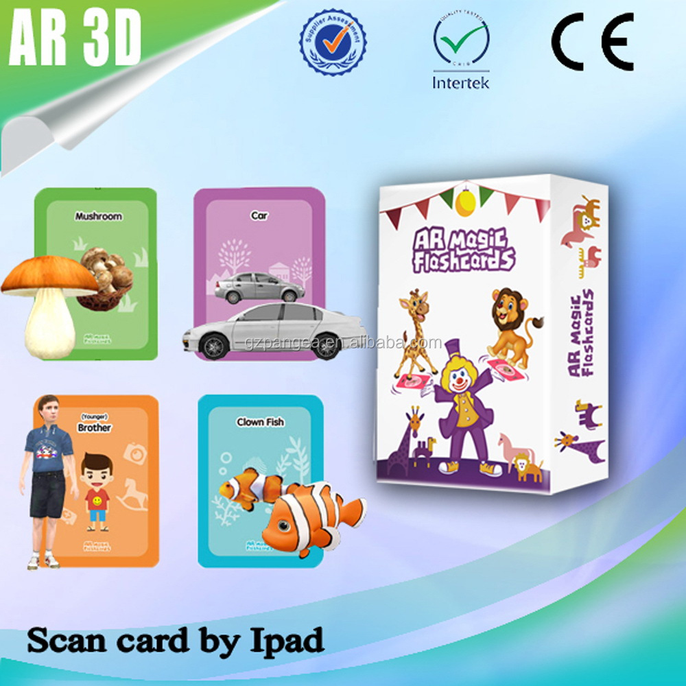 3D AR Customize paper flash cards educational toy for Kids3+