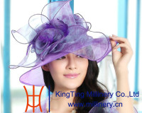 New Style Ladies Dress Hats Wholesale Elegant Purple Organza Hats For Girls