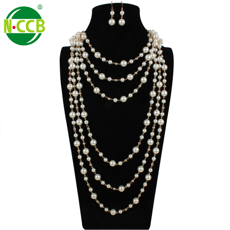 Handmade newest trend charms fashion baroque long multi strand imitation pearl necklace
