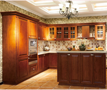 China factory wholesale cheap solid wood kitchen cabinet for Inexpensive wood kitchen cabinets