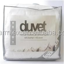 Lightweight White Down Comforter Light Warmth Duvet Insert 100% Cotton 600 Fill Power, Full/Queen, White