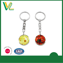 Fashion custom printed keyring metal round shape key chain