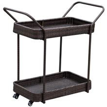 Outdoor Wicker/Rattan Rolling Bar Serving Cart with Shelves and 360-degree Wheels