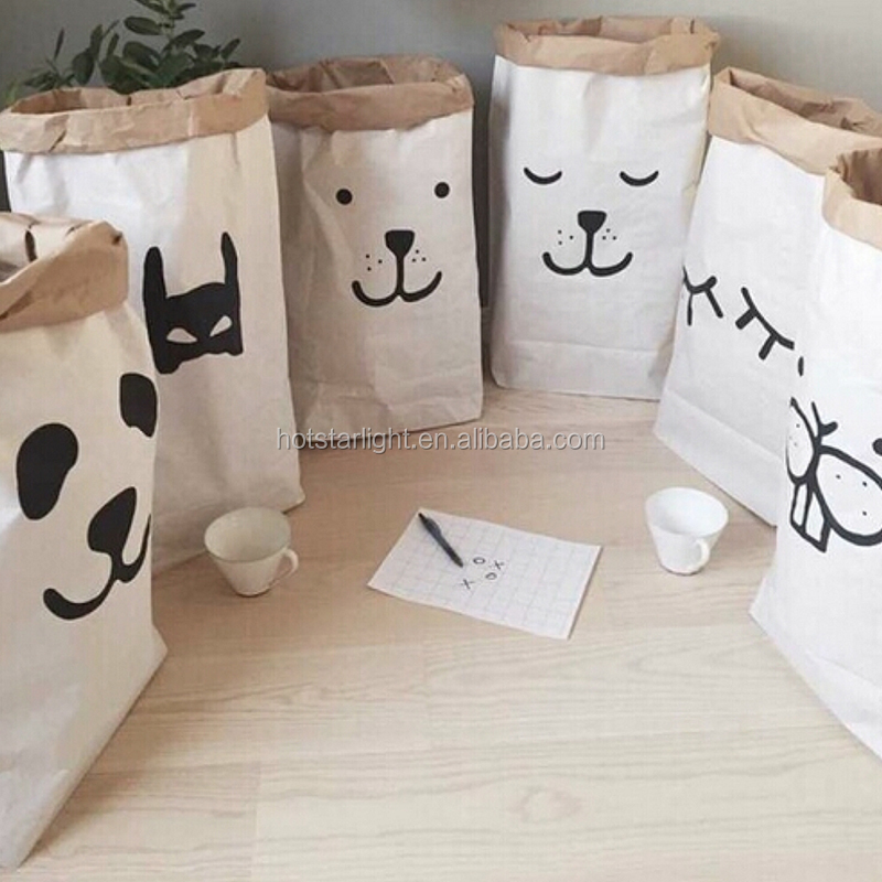 Popular Heavy Kraft Paper Bag Children Room Organizer Bag Storage Bag For Toy And Baby Clothings