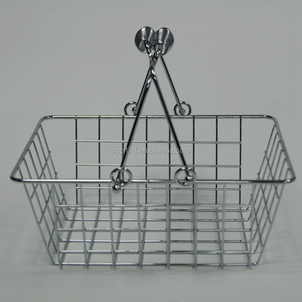 Fashion Store Chrome Metal Shopping Basket Wholesale