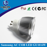 CE Rohs driverless dimmable 230v cob 6w 4500k gu10 led