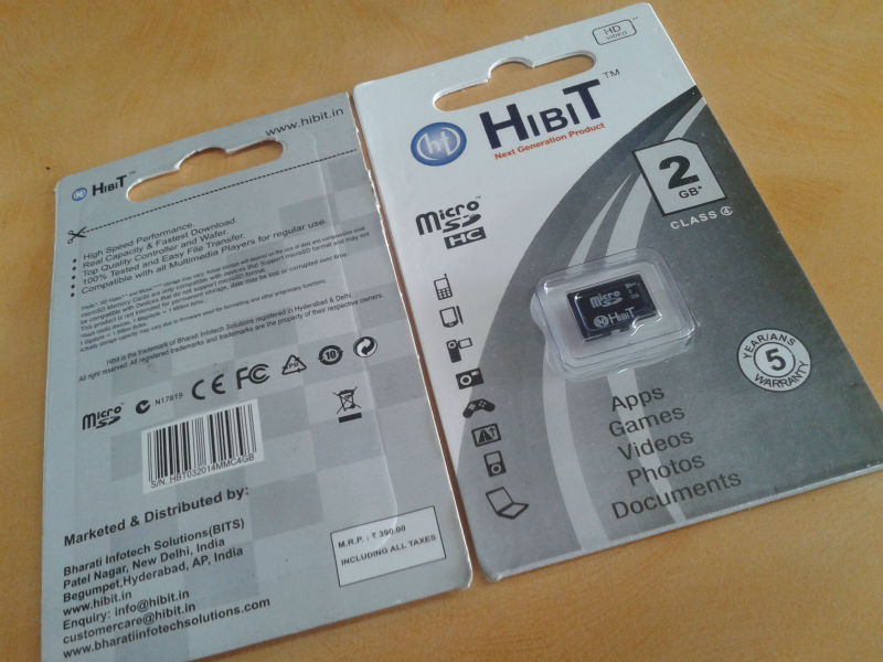 HIBIT 2GB Retail Packing Card