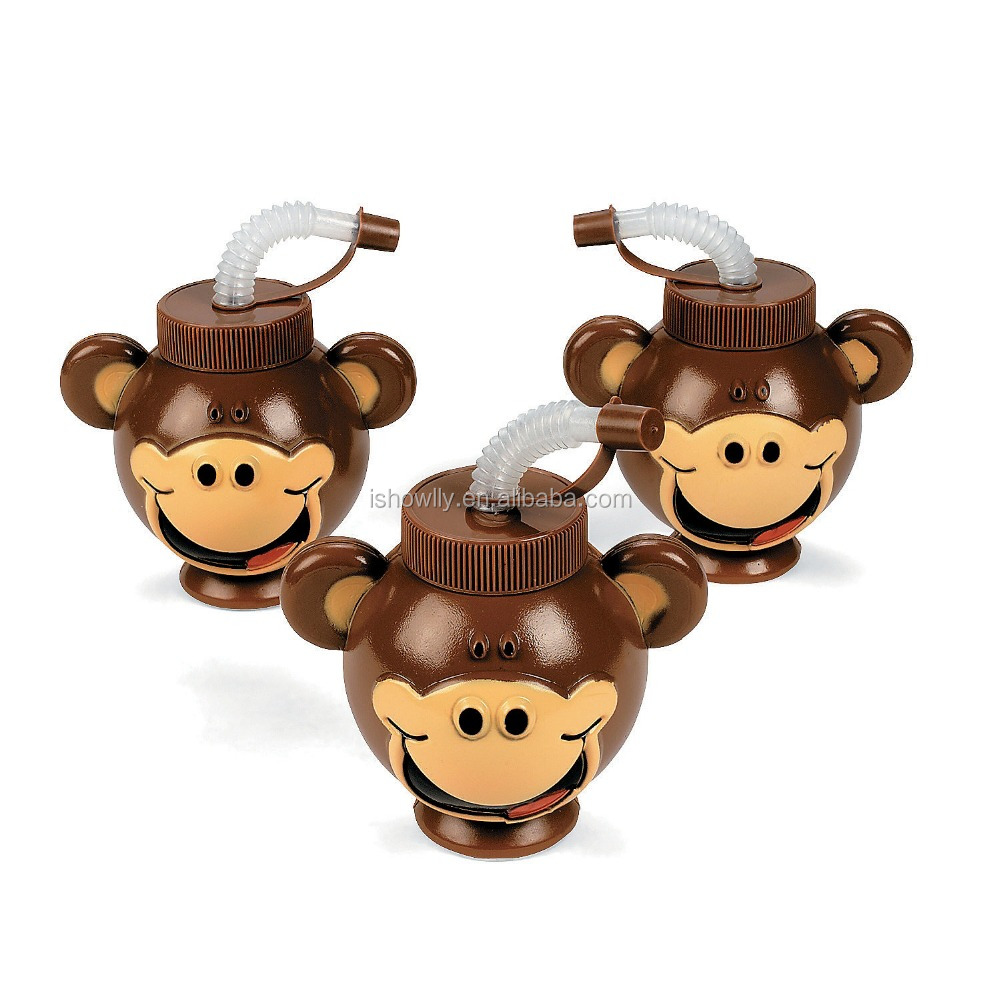 13 oz. 380ml Promotional Popular Customized Plastic Beach Monkey Head Shaped Cups with Lids and Straws Wholesale Manufacturer