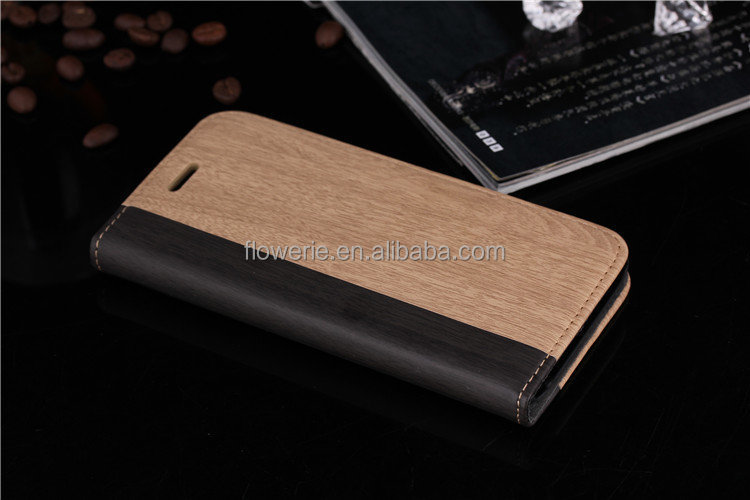 FL2531 Wood Grain Leather Card Holder Phone Case For iPhone 6