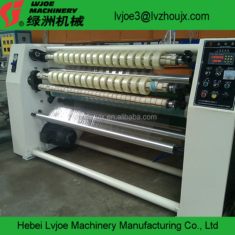 automatic adhesive tape jumbo roll slitting and rewinding machine