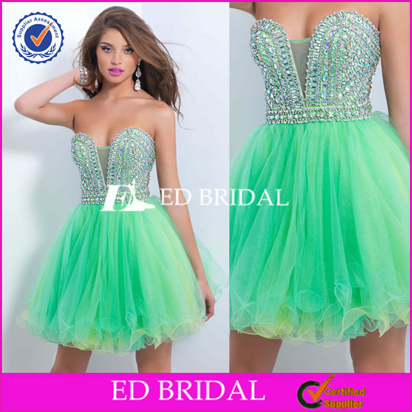 C149 Colored Tulle Bottom Sleeveless Bling Bling Stone Cocktail Dress For Teenagers