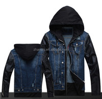 European Style High Quality Men's Denim Jacket With Leather Sleeves
