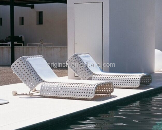 Contemporary octagonal pattern wicker woven pool sun bed furniture hotel lounge chair