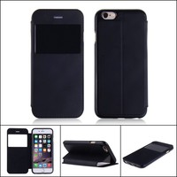 Luxury design clear window leather case flip cover for iphone 6