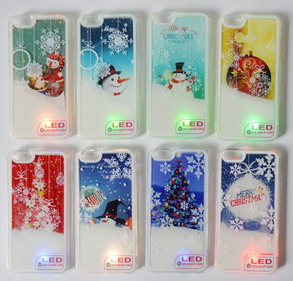 Christmas gift snowman christmas tree painting liquid quicksand led light cell phone case for iphone 6 6 plus