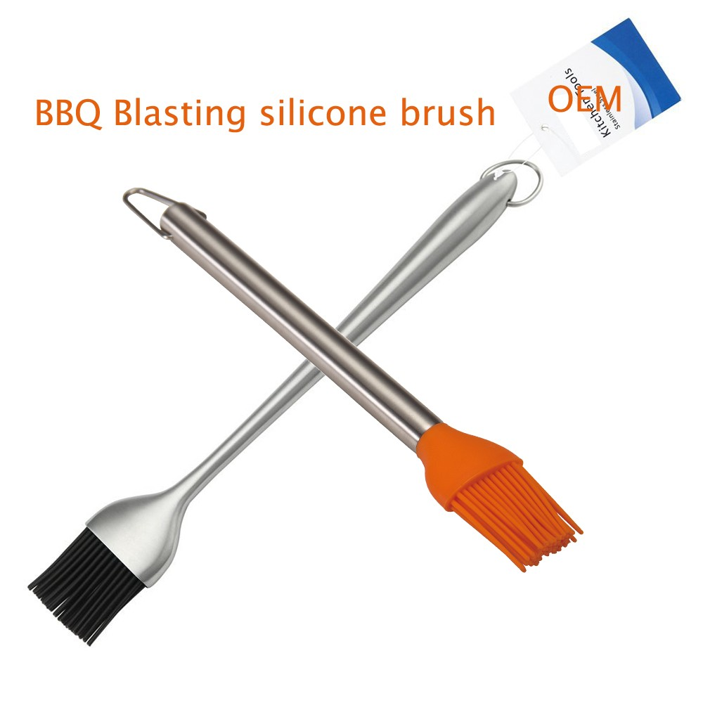 China modern kitchen design stainless steel handle silicone brush