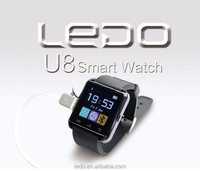 LEDO U8 smartwatch fashion men's smart watch phone anddroid single sim of 2015 with pedometer sports style watch