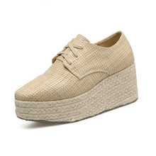 cheelon shoes fashion lace up cane grass upper rope sole casual platform female shoes wedges